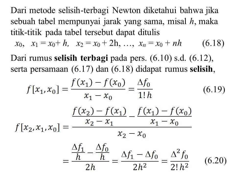 Dari metode selisih-terbagi Newton diketahui bahwa jika sebuah tabel mempunyai jarak yang sama, misal h, maka titik-titik pada tabel tersebut dapat ditulis
