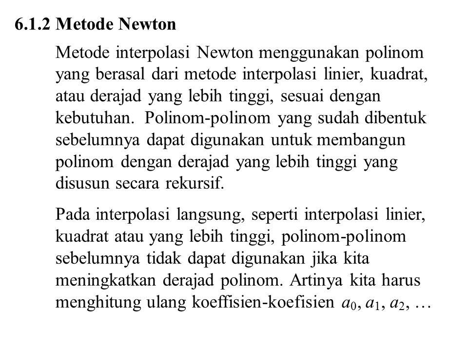 6.1.2 Metode Newton Metode interpolasi Newton menggunakan polinom. yang berasal dari metode interpolasi linier, kuadrat,