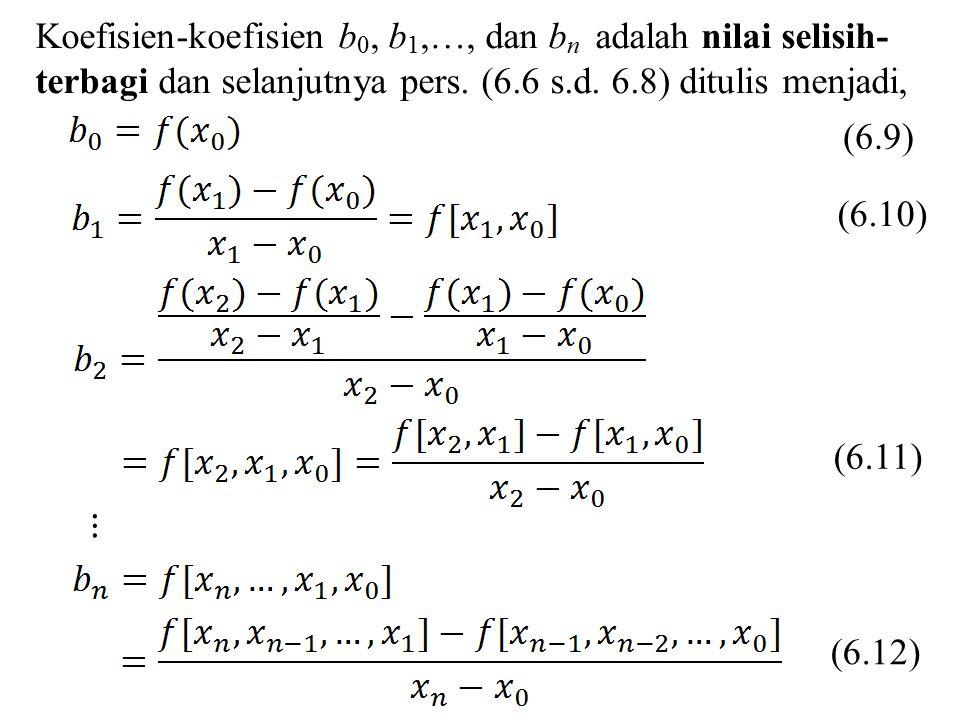 Koefisien-koefisien b0, b1,…, dan bn adalah nilai selisih- terbagi dan selanjutnya pers. (6.6 s.d. 6.8) ditulis menjadi,
