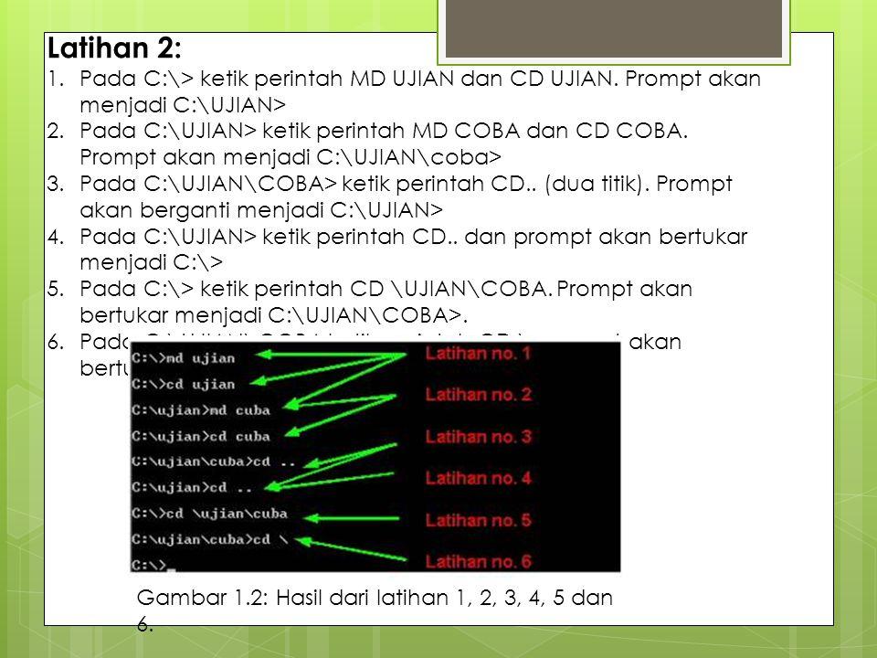 Latihan 2: Pada C:\> ketik perintah MD UJIAN dan CD UJIAN. Prompt akan menjadi C:\UJIAN>