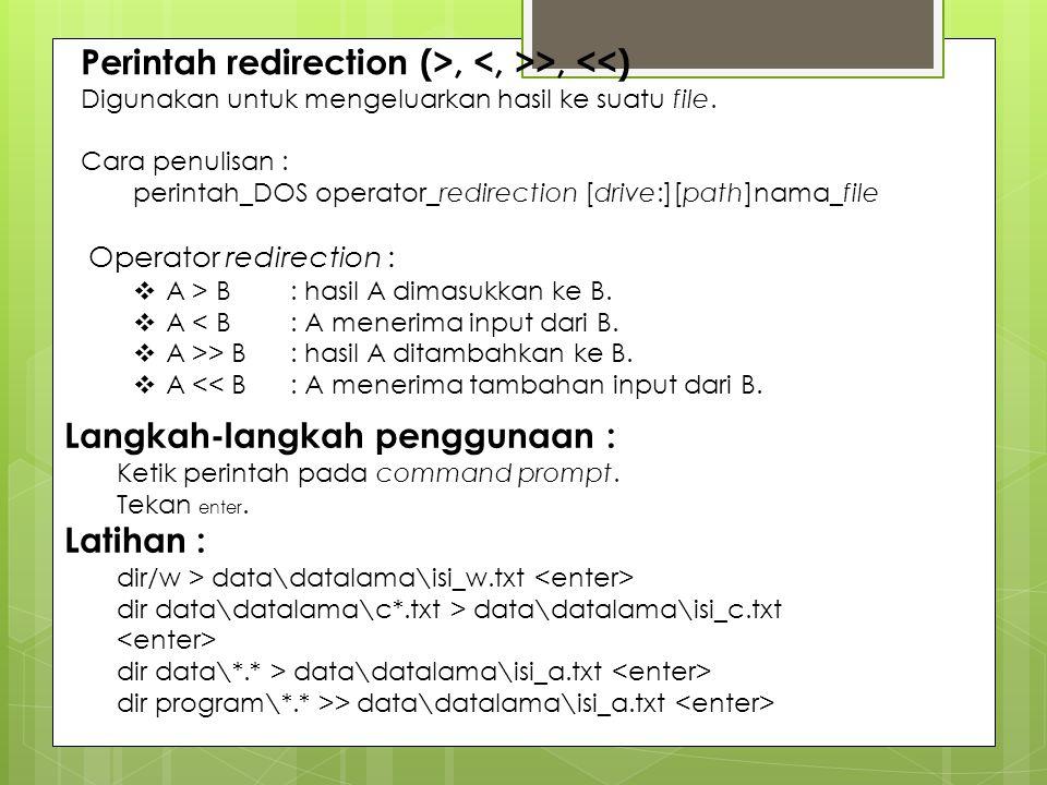 Perintah redirection (>, <, >>, <<)