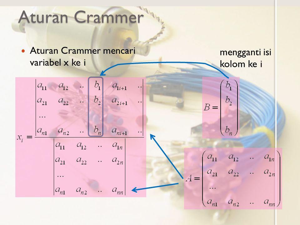 Aturan Crammer Aturan Crammer mencari variabel x ke i