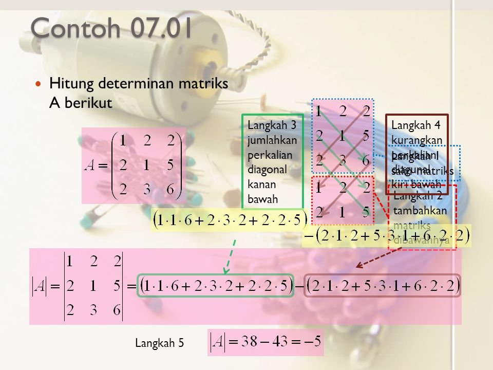 Contoh 07.01 Hitung determinan matriks A berikut
