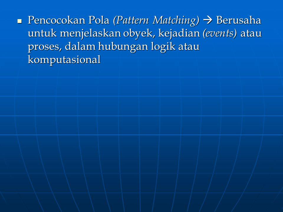 Pencocokan Pola (Pattern Matching)  Berusaha untuk menjelaskan obyek, kejadian (events) atau proses, dalam hubungan logik atau komputasional