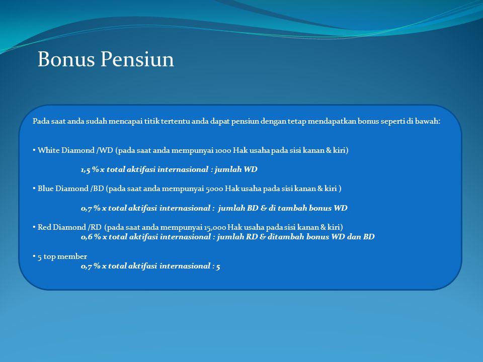 Bonus Pensiun Pada saat anda sudah mencapai titik tertentu anda dapat pensiun dengan tetap mendapatkan bonus seperti di bawah: