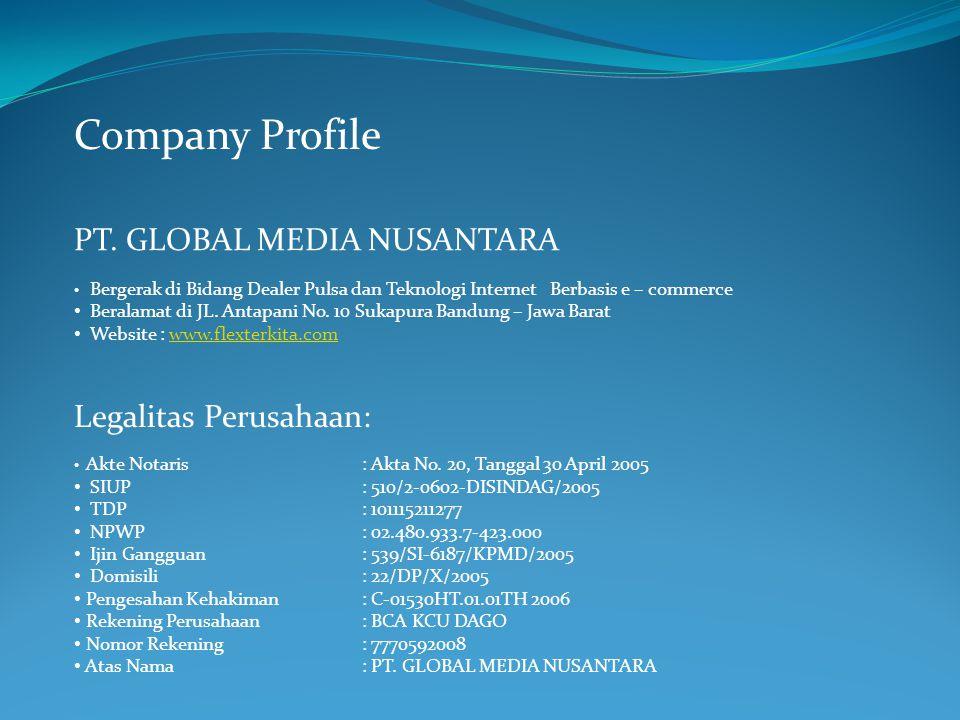Company Profile PT. GLOBAL MEDIA NUSANTARA Legalitas Perusahaan: