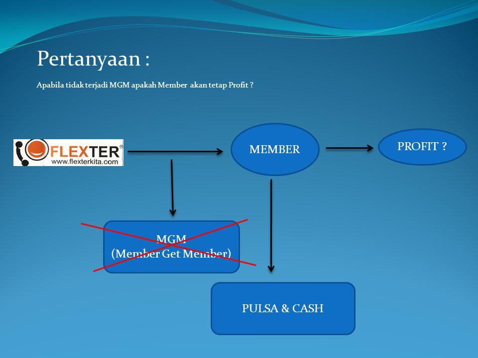 Pertanyaan : MEMBER PROFIT MGM (Member Get Member) PULSA & CASH