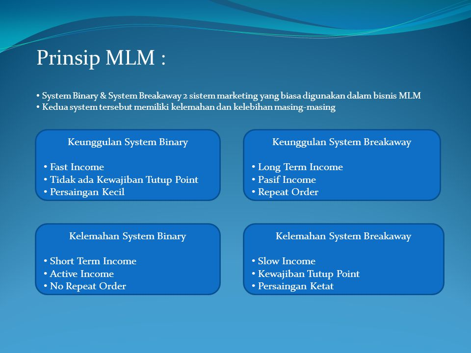 Prinsip MLM : Keunggulan System Binary Fast Income