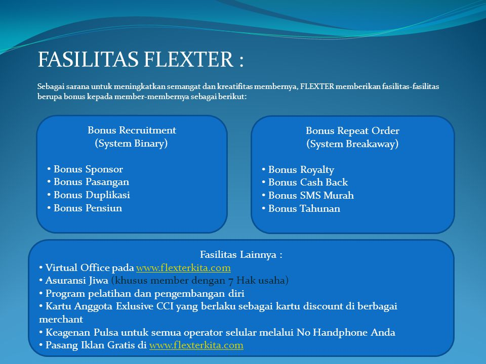 FASILITAS FLEXTER : Bonus Recruitment Bonus Repeat Order