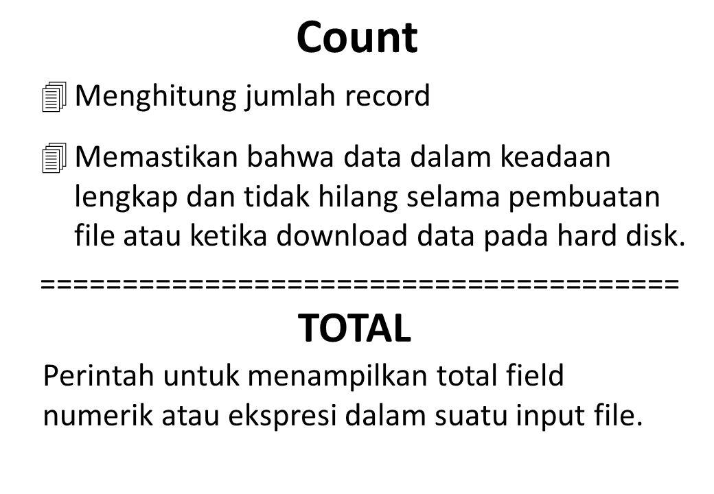 Count TOTAL Menghitung jumlah record