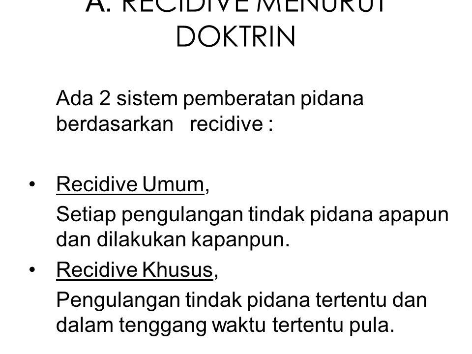 A. RECIDIVE MENURUT DOKTRIN