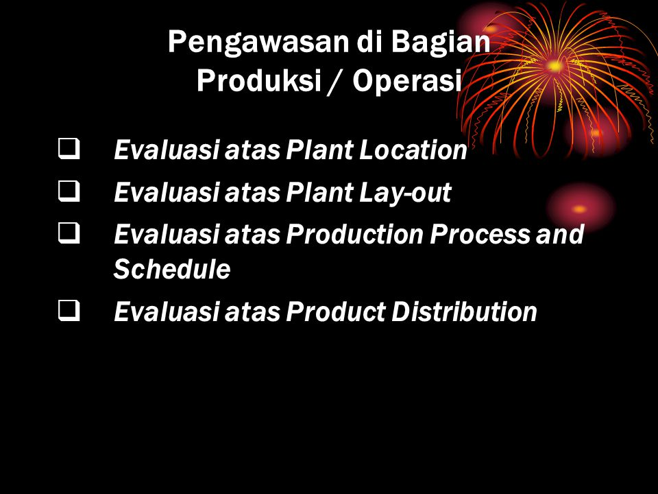 Pengawasan di Bagian Produksi / Operasi