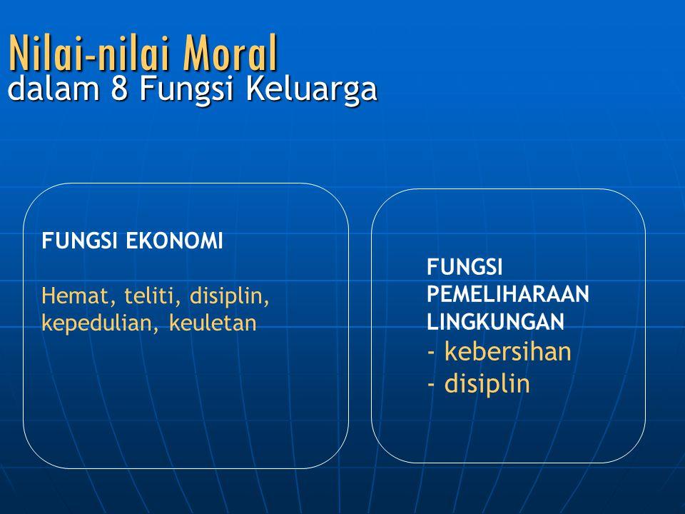 Nilai-nilai Moral dalam 8 Fungsi Keluarga kebersihan disiplin