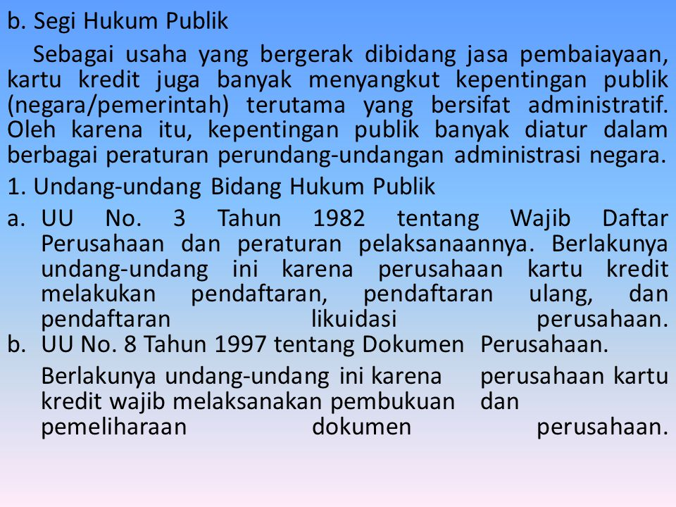 b. Segi Hukum Publik