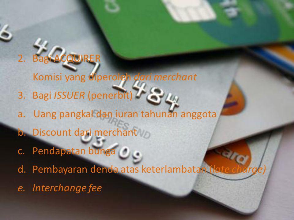 Bagi ACQUIRER Komisi yang diperoleh dari merchant. Bagi ISSUER (penerbit) a. Uang pangkal dan iuran tahunan anggota.