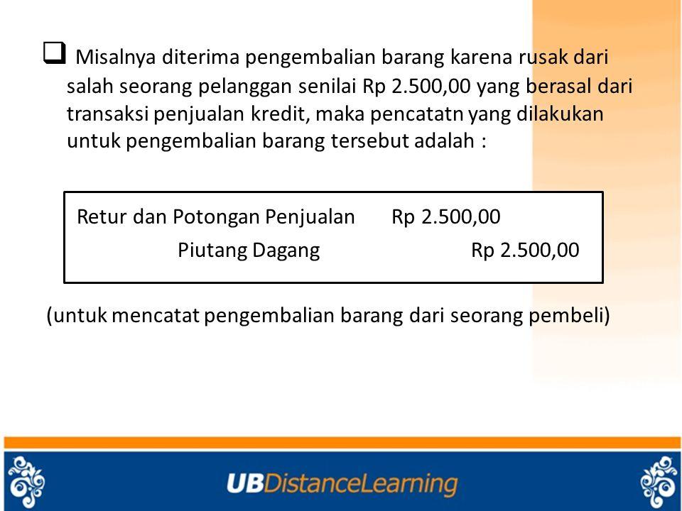 Misalnya diterima pengembalian barang karena rusak dari salah seorang pelanggan senilai Rp 2.500,00 yang berasal dari transaksi penjualan kredit, maka pencatatn yang dilakukan untuk pengembalian barang tersebut adalah :