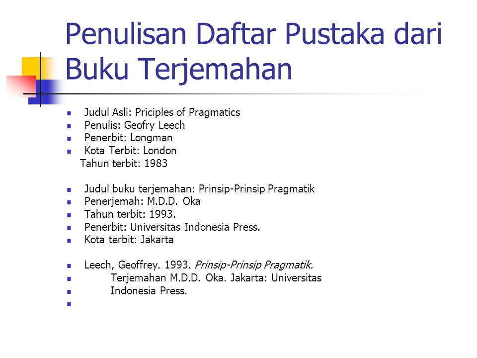 Penulisan Daftar Pustaka dari Buku Terjemahan