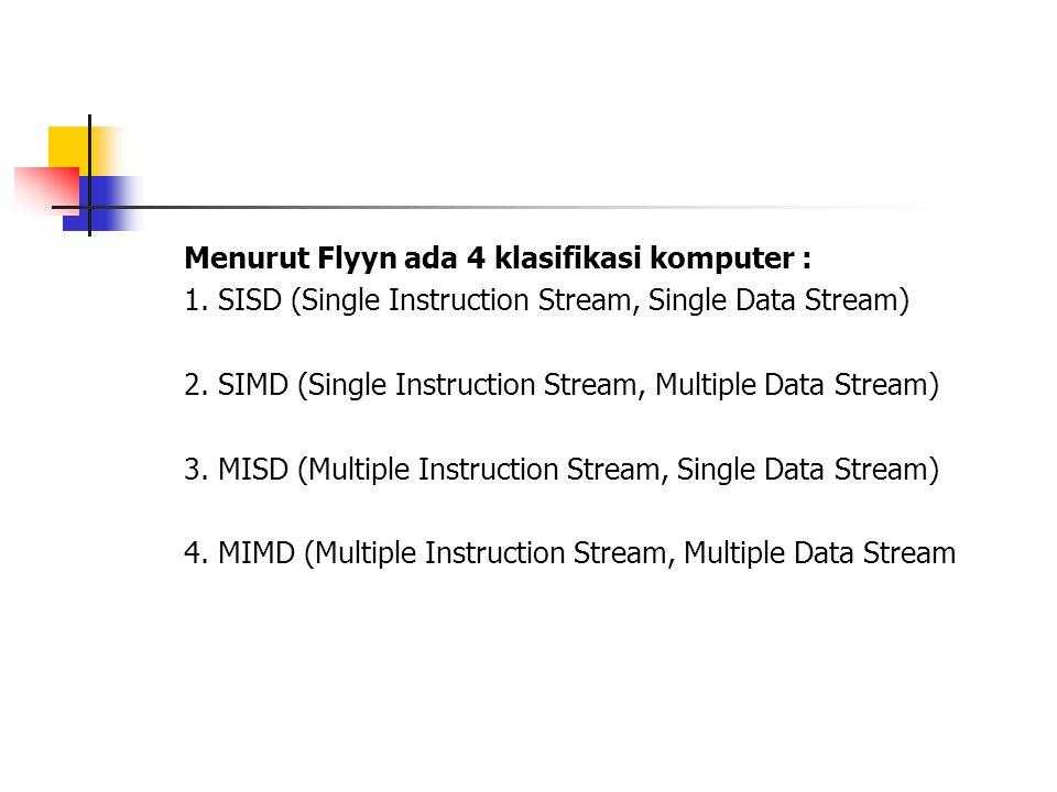 Menurut Flyyn ada 4 klasifikasi komputer :