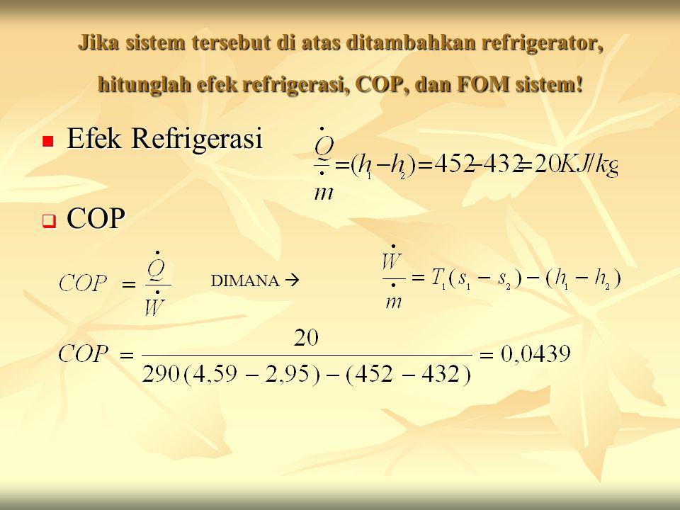 Jika sistem tersebut di atas ditambahkan refrigerator, hitunglah efek refrigerasi, COP, dan FOM sistem!