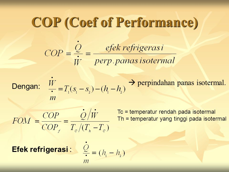 COP (Coef of Performance)
