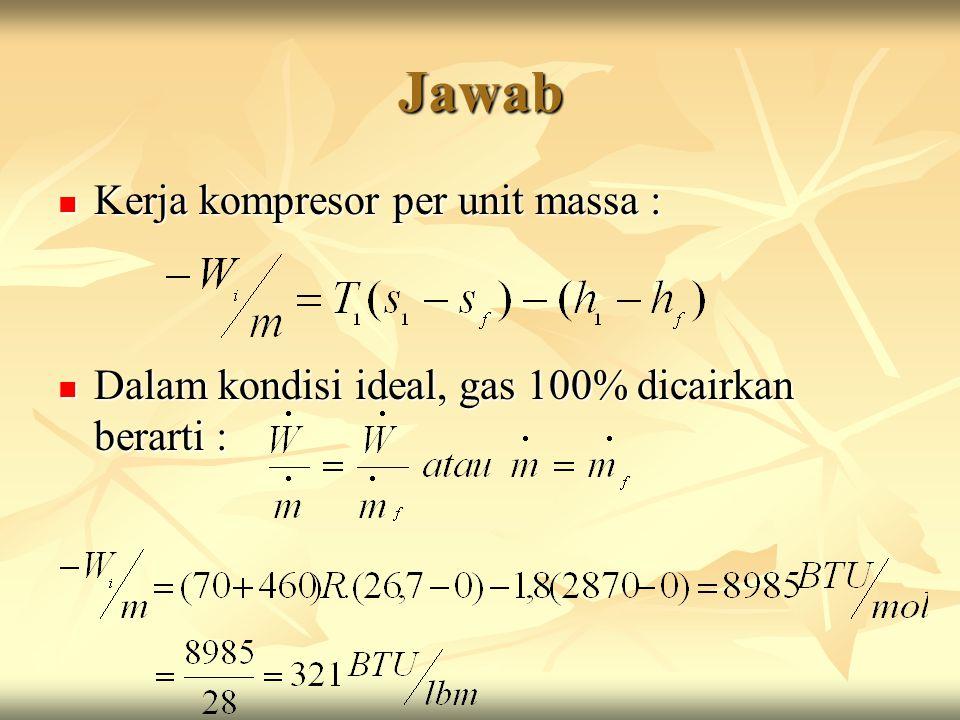 Jawab Kerja kompresor per unit massa :
