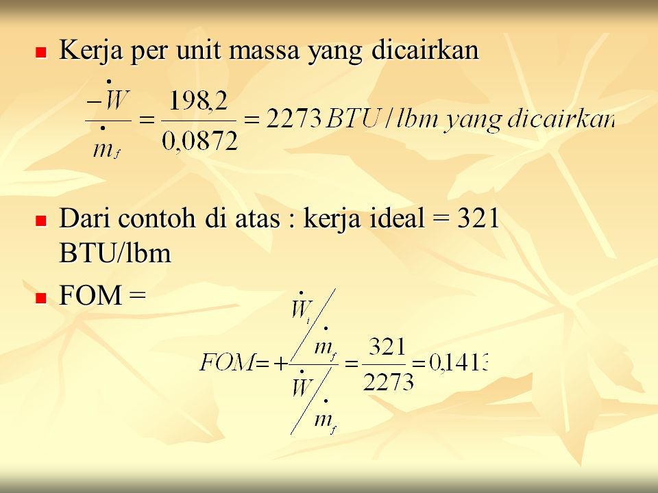 Kerja per unit massa yang dicairkan