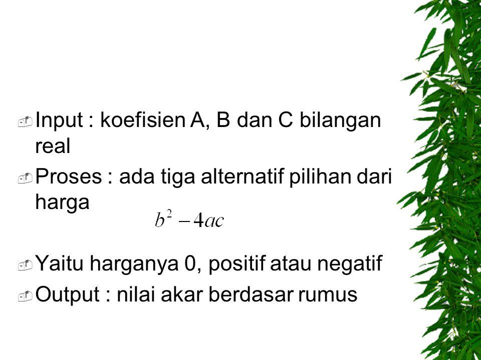 Input : koefisien A, B dan C bilangan real