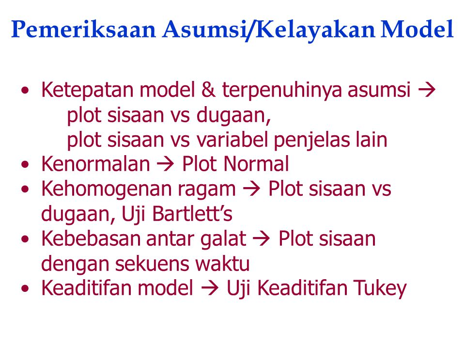 Pemeriksaan Asumsi/Kelayakan Model
