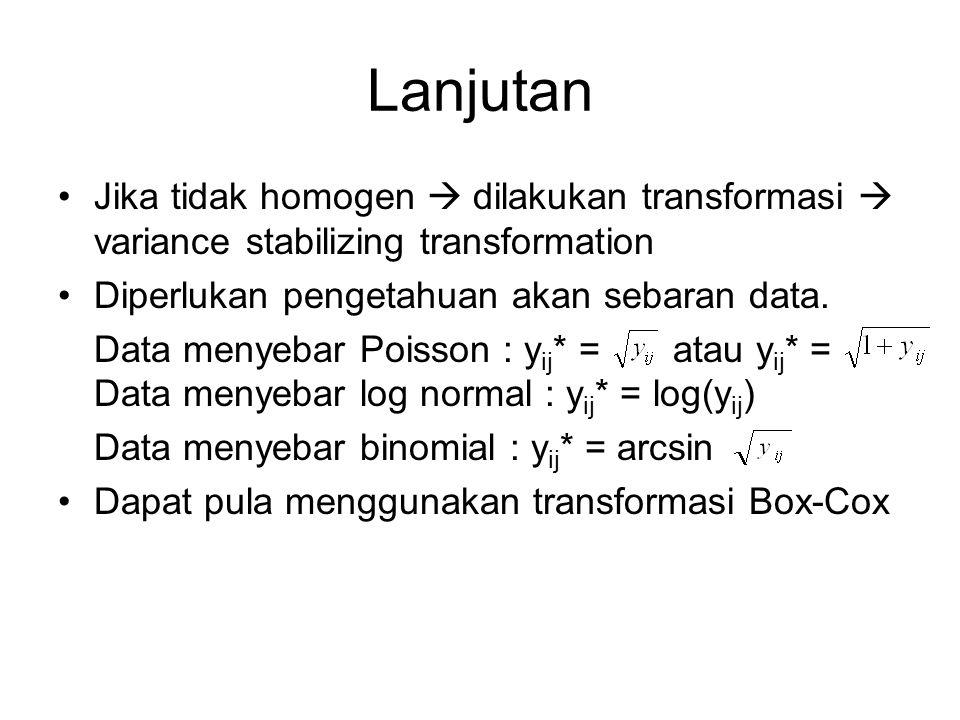 Lanjutan Jika tidak homogen  dilakukan transformasi  variance stabilizing transformation. Diperlukan pengetahuan akan sebaran data.
