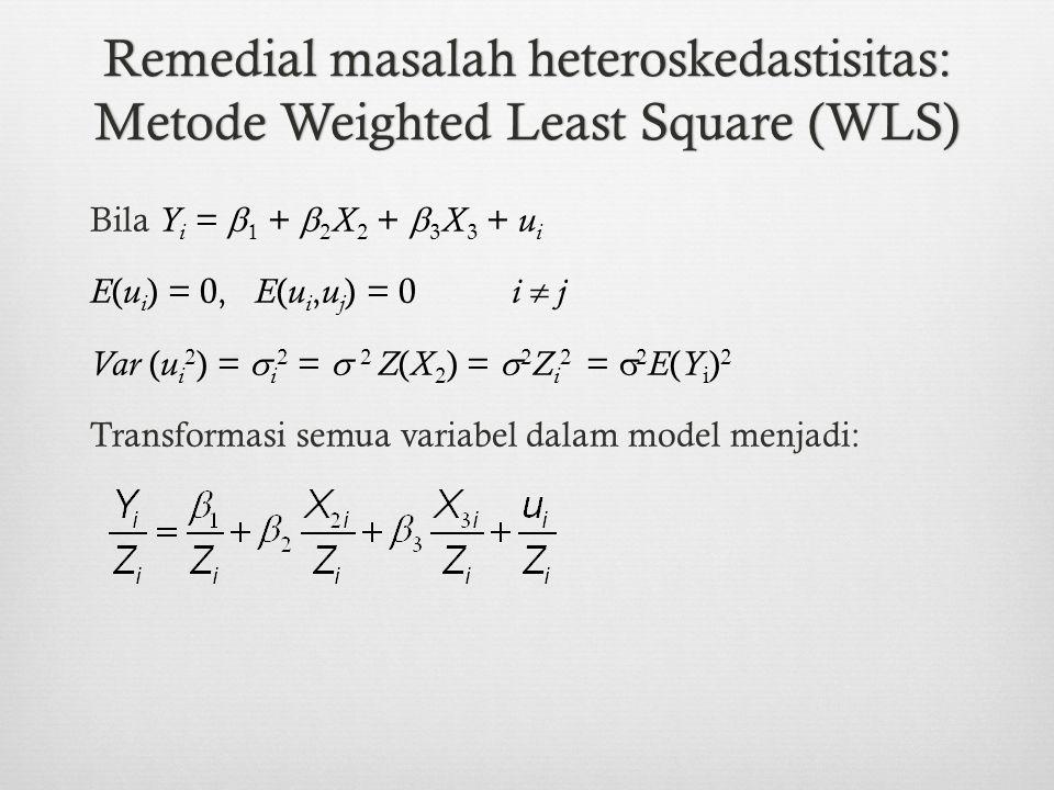 Remedial masalah heteroskedastisitas: Metode Weighted Least Square (WLS)