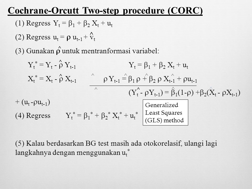 Cochrane-Orcutt Two-step procedure (CORC)
