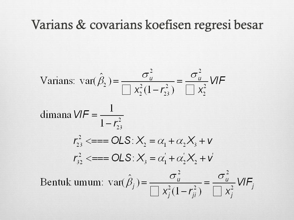 Varians & covarians koefisen regresi besar
