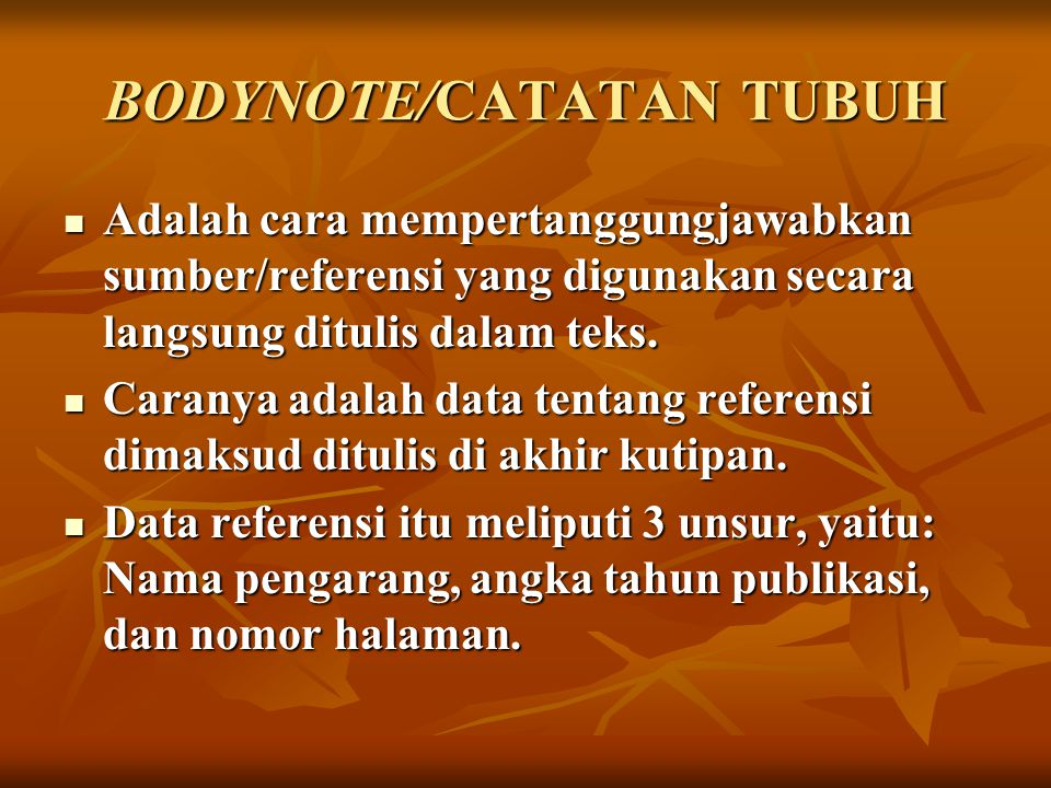 BODYNOTE/CATATAN TUBUH