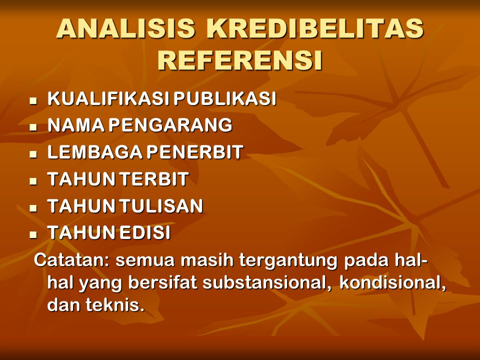 ANALISIS KREDIBELITAS REFERENSI