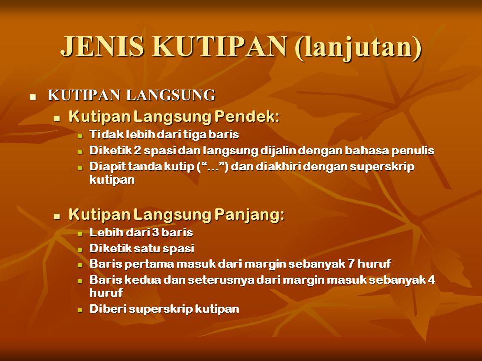 JENIS KUTIPAN (lanjutan)