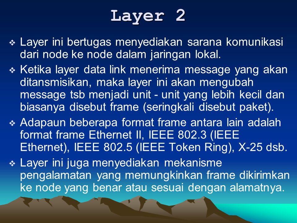 Layer 2 Layer ini bertugas menyediakan sarana komunikasi dari node ke node dalam jaringan lokal.