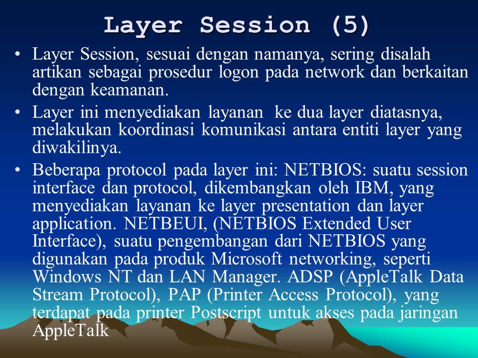 Layer Session (5) Layer Session, sesuai dengan namanya, sering disalah artikan sebagai prosedur logon pada network dan berkaitan dengan keamanan.