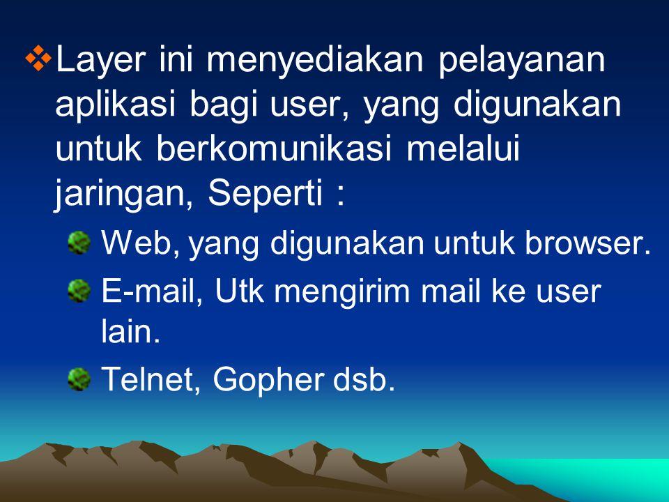 Layer ini menyediakan pelayanan aplikasi bagi user, yang digunakan untuk berkomunikasi melalui jaringan, Seperti :