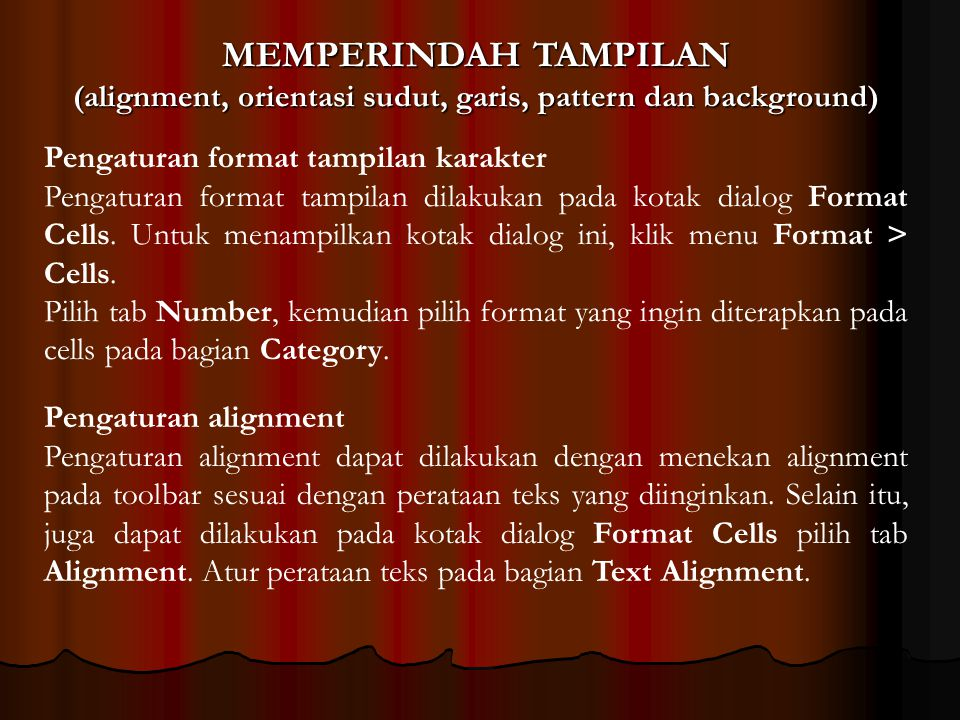 (alignment, orientasi sudut, garis, pattern dan background)