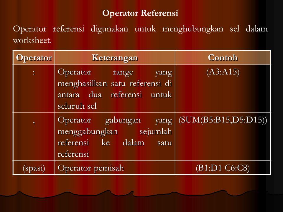 Operator Referensi Operator referensi digunakan untuk menghubungkan sel dalam worksheet. Operator.