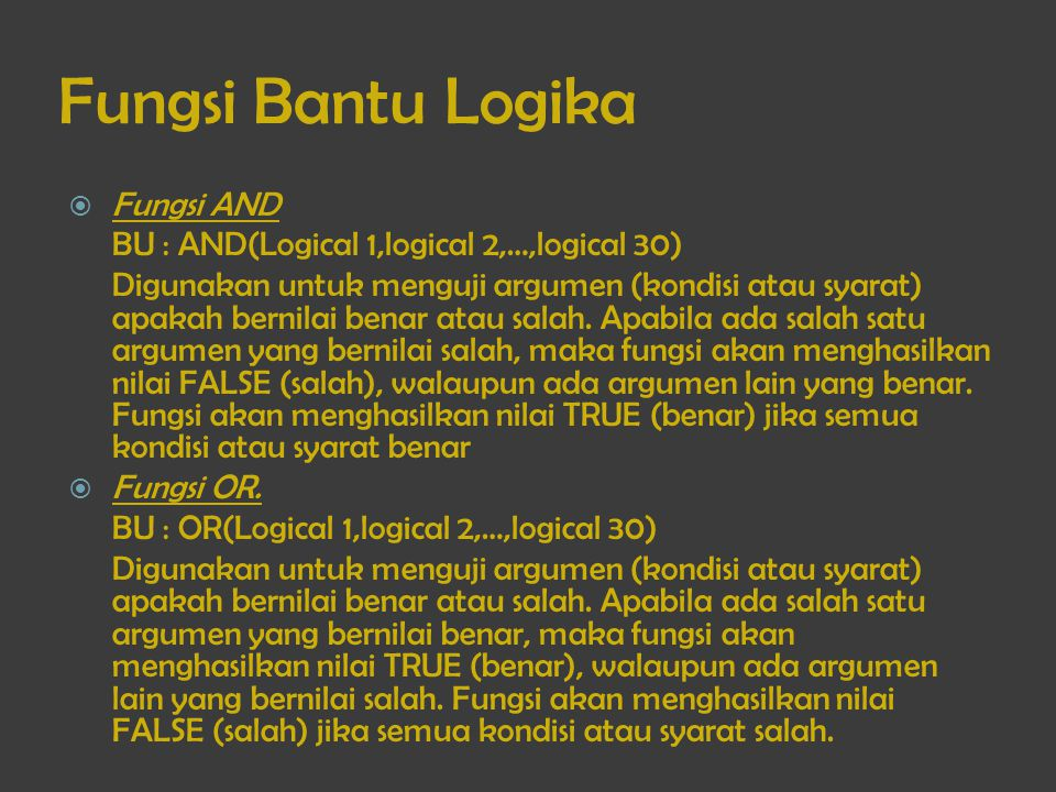 Fungsi Bantu Logika Fungsi AND