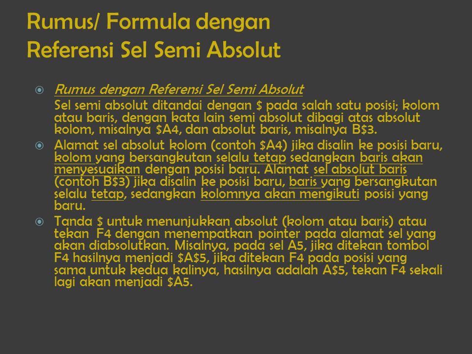 Rumus/ Formula dengan Referensi Sel Semi Absolut