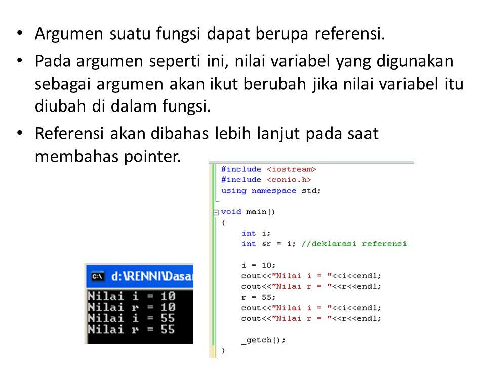 Argumen suatu fungsi dapat berupa referensi.
