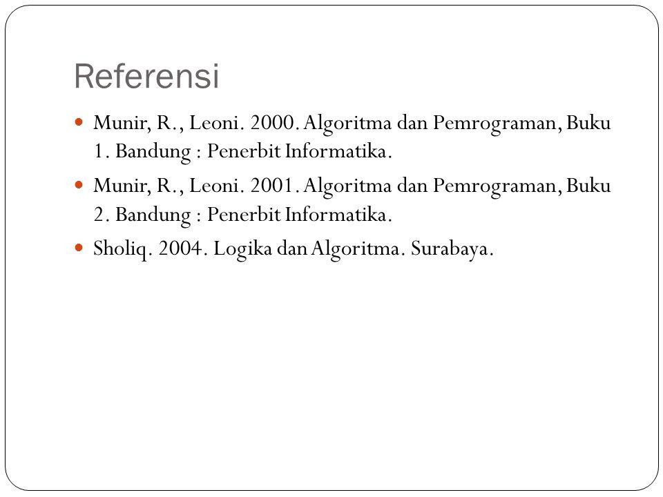 Referensi Munir, R., Leoni. 2000. Algoritma dan Pemrograman, Buku 1. Bandung : Penerbit Informatika.