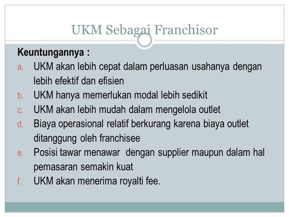 UKM Sebagai Franchisor