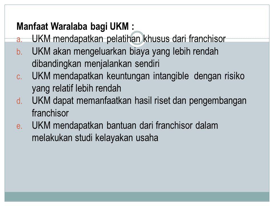 Manfaat Waralaba bagi UKM :