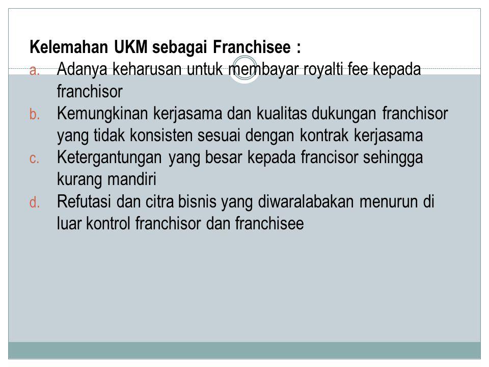 Kelemahan UKM sebagai Franchisee :
