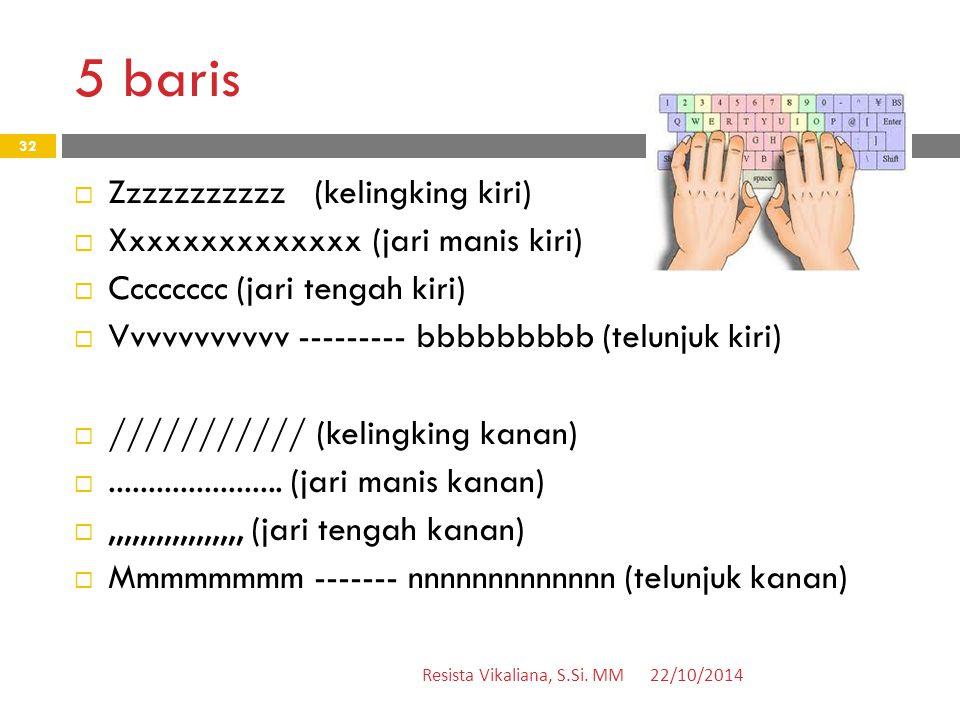 5 baris Zzzzzzzzzzz (kelingking kiri) Xxxxxxxxxxxxxx (jari manis kiri)