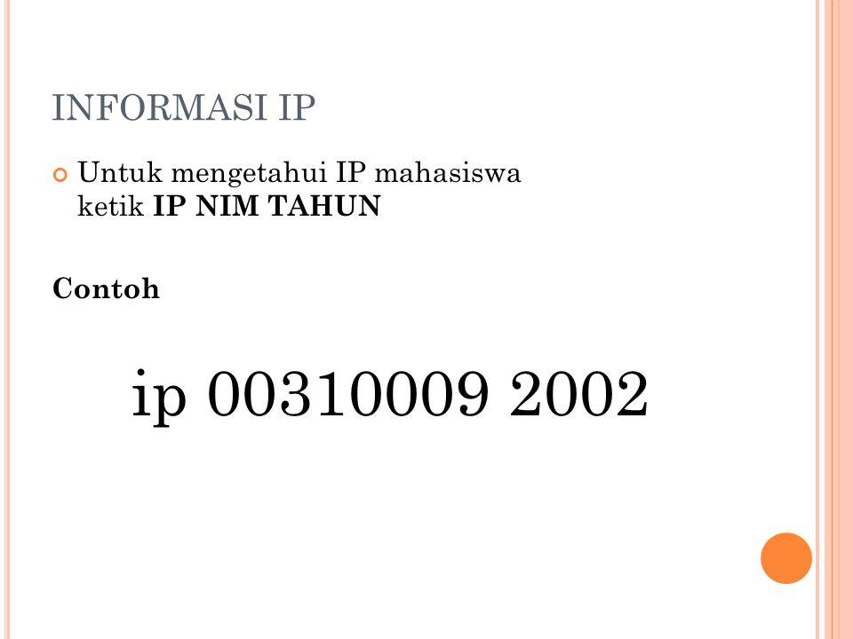 INFORMASI IP Untuk mengetahui IP mahasiswa ketik IP NIM TAHUN Contoh ip 00310009 2002