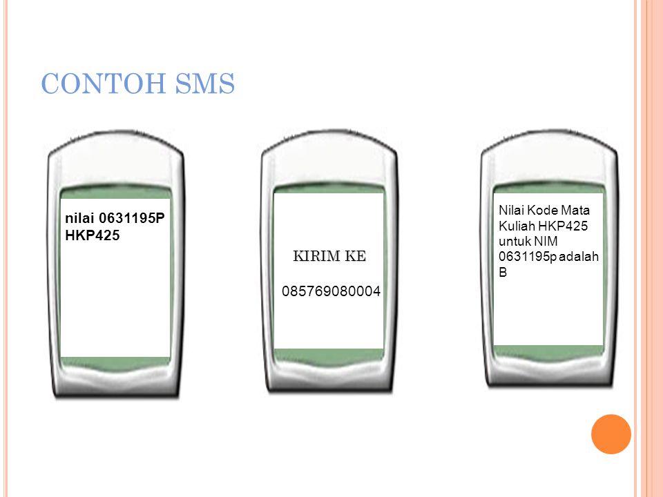 CONTOH SMS nilai 0631195P HKP425 KIRIM KE 085769080004